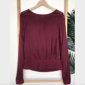 SOLD COS Maroon Pleat Back Knit Jumper Sweater S